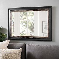 Black & Gold Fleur de Lis Framed Mirror, 24x36