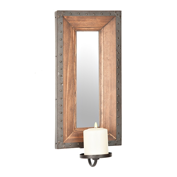 Industrial Wood And Metal Mirrored Sconce