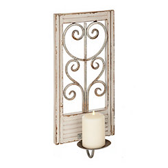 White Scrolled Window Sconce