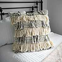 Cream and Black Layered Fringe Pillow