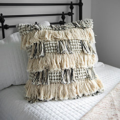 Cream and Black Layered Fringe Pillow
