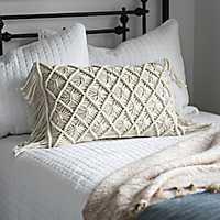 Ivory Macrame Fringe Accent Pillow