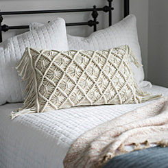Ivory Macrame Fringe Accent Pillow