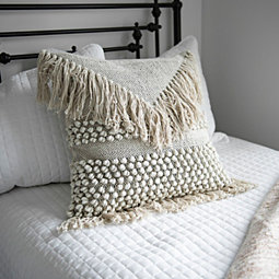 Ivory Knotted Fringe Pillow