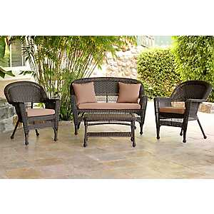Espresso Wicker and Brown 4-pc. Outdoor Set
