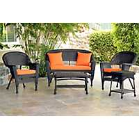 Espresso Wicker and Orange 4-pc. Outdoor Set