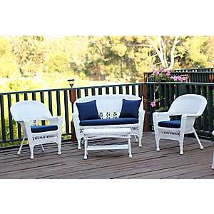 White Wicker and Navy 4-pc. Outdoor Set