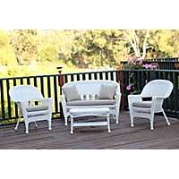 White Wicker and Tan 4-pc. Outdoor Set