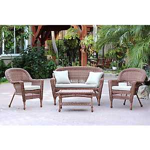 Honey Wicker and Tan 4-pc. Outdoor Set