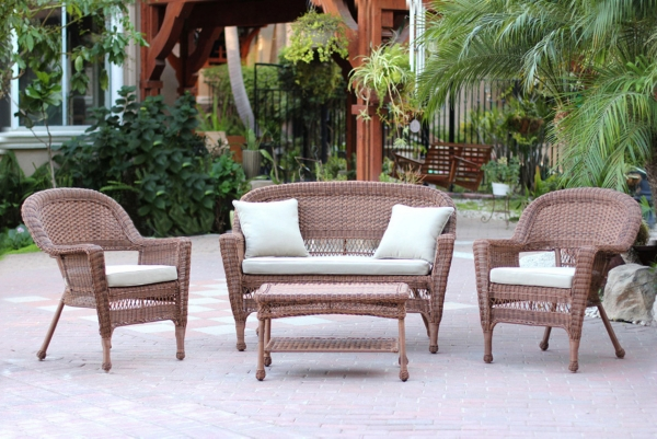 Honey Wicker And Tan Outdoor Chairs, Set Of 4