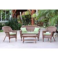 Honey Wicker and Green 4-pc. Outdoor Set