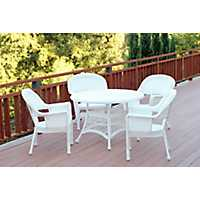 White Wicker 5-pc. Outdoor Dining Set