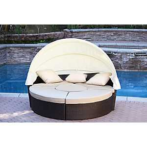 Brown Wicker Sectional Daybed with Tan Cushions