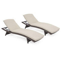 Espresso Wicker Adjustable Loungers, Set of 2