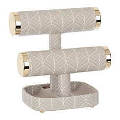 Gray Stripe 2-Tier Jewelry Stand