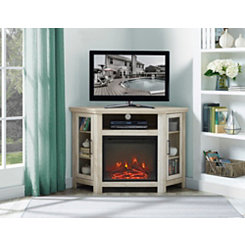 White Oak Corner Fireplace Media Cabinet