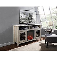 White Oak Highboy Fireplace Media Cabinet