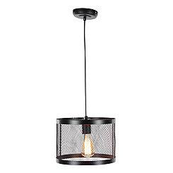 Metallic Black Cylindrical Pendant Lamp