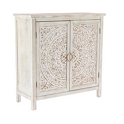Beige Wooden Distressed Medallion Storage Cabinet