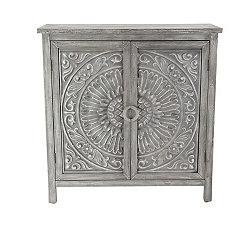 Sabela Gray Floral Medallion Cabinet
