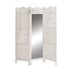 Vintage White 3-Panel Screen with Mirror
