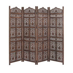 Rustic Brown Mango Wood 4-Panel Screen