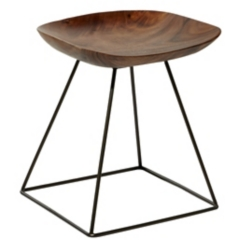 Brown Upright Curved Edge Stool