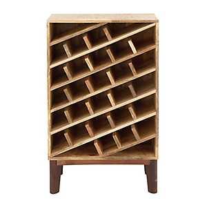 Rustic Brown Wooden Wine Rack