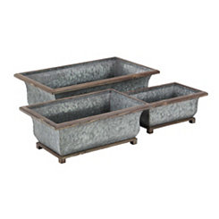 Rustic Metal and Wood Planters, Set of 3