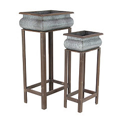 Rustic Metal Rectangle Standing Planters, Set of 2
