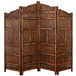 Pierced Mango Wood Floral 4-Panel Screen