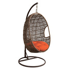 Rattan Egg Chair Swing with Red Cushion