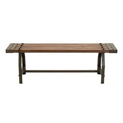Industrial Natural Wood and Metal Bench