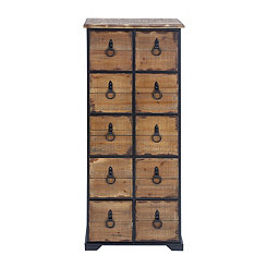 Natural Industrial 10-Drawer Chest