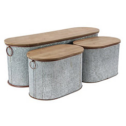 Corrugated Metal and Wood Storage Boxes, Set of 3
