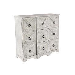 Jacy Distressed White 3-Door Cabinet