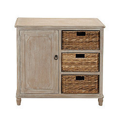Giana 3-Basket Wooden Cabinet