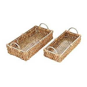 Water Hyacinth and Iron Baskets, Set of 2