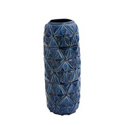 Tall Blue Geometric Ceramic Vase, 22 in.
