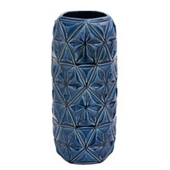 Blue Geometric Ceramic Vase, 18 in.