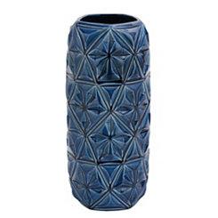 Blue Geometric Ceramic Vase, 18 in.
