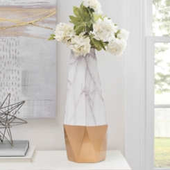Tall Gold Marble Ceramic Vase