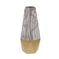 Gold Marble Ceramic Vase, 14 in.