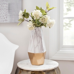Gold Marble Ceramic Vase, 14 in.