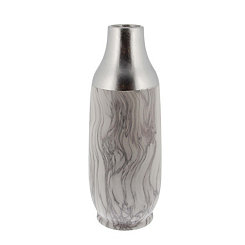 Tall Silver Marble Ceramic Vase