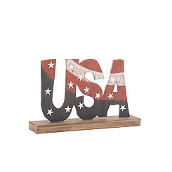 USA Sign on Wooden Base