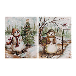 Country Snowman Canvas Art Prints, Set of 2
