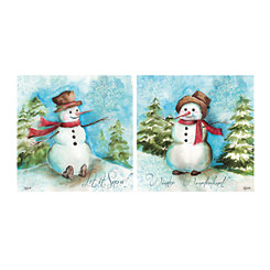 Watercolor Snowman Canvas Art Prints, Set of 2
