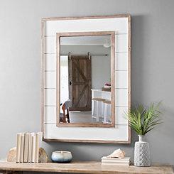 White Shiplap Framed Mirror