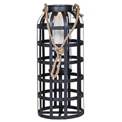 Dark Metal Cage Lantern, 23 in.